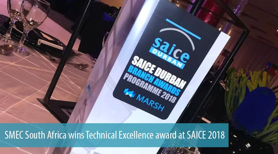 SMEC South Africa wins Technical Excellence award at SAICE 2018
