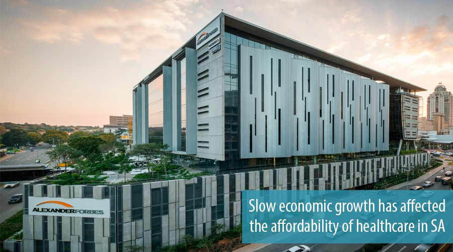 Slow economic growth has affected the affordability of healthcare in SA